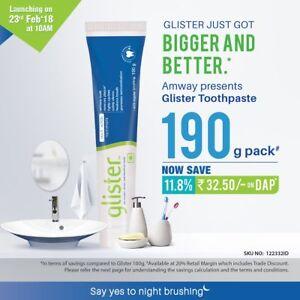 Amway Glister Toothpaste White Teeth Remove Plaque 190 gm |Free Shipping