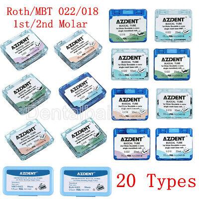 Dental Orthodontic Buccal Tubes 1st 2nd Molar Tube Roth Mbt 022 Bondable Azdent