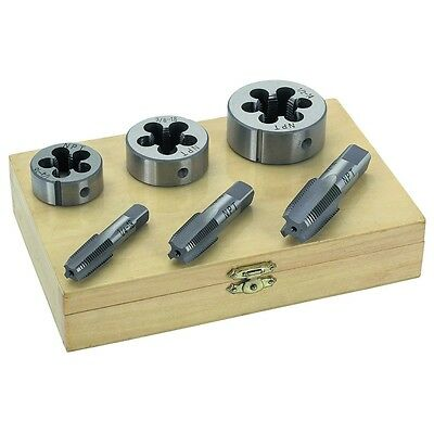 """6 PC 1/4"""" 3/8"""" 1/2"""" INCH HIGH CARBON STEEL PIPE TAP & AND DIE SET"""