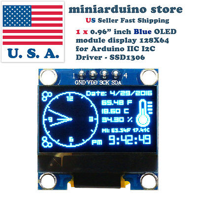 """0.96"""" I2C IIC 128X64 LED OLED LCD  Display Module for Arduino Blue Color SSD1306"""
