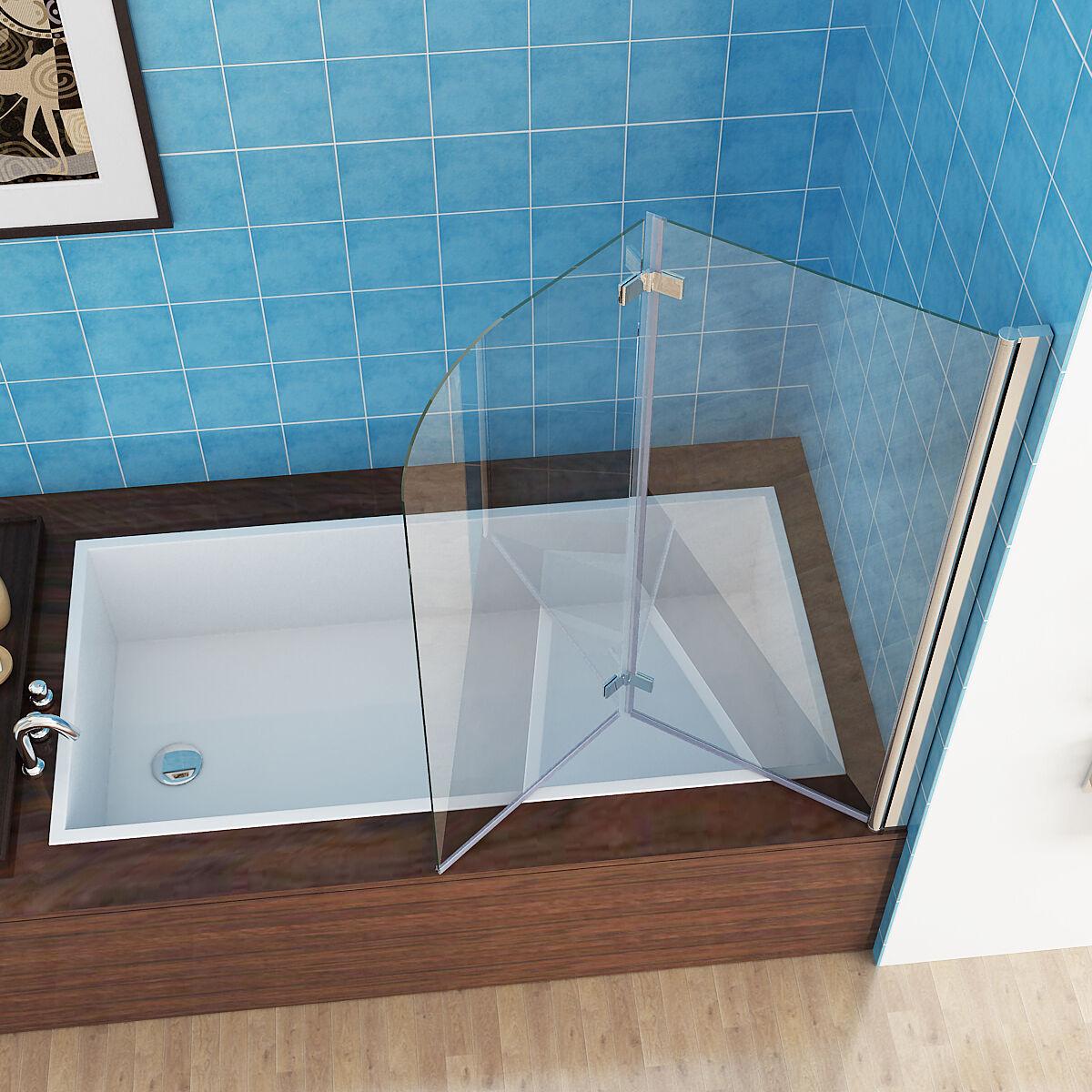 120 x 140 cm Badewannen 2 tlg. Faltwand Aufsatz 180° Duschwand Duschabtrennung M