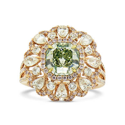 GIA Fancy Green Diamond Beautiful Ring 3.41Ct Radiant Cut Natural 18K White Gold