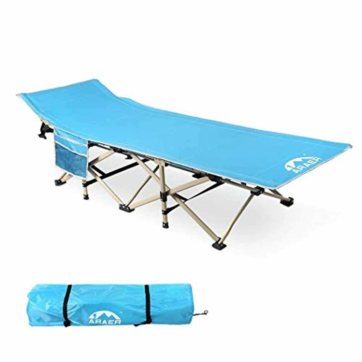 ARAER Camping Cot, 450LBS, Portable Foldable Outdoor Bed wit