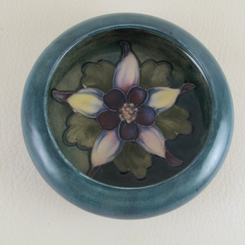 COLUMBINE by MOORCROFT English Art Pottery Floral Dish Bowl Trinket Dresser EAF