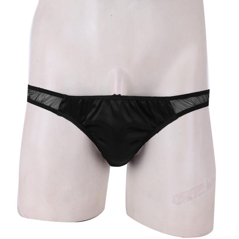 Sissy Panties Men/'s Satin Sheer Mesh Low rise Bikini briefs Underwear Underpants