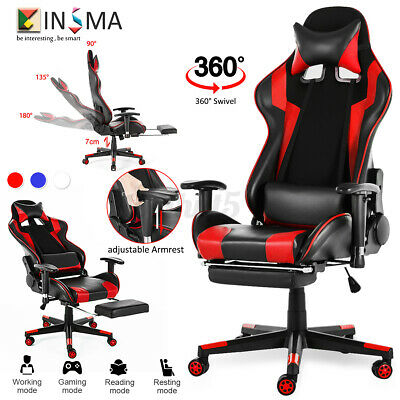 Gaming Chair Racing Ergonomic Recliner Office Computer Swivel Desk Seat Footrest