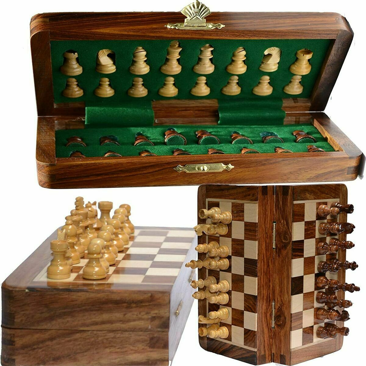 Buy Best Vintage Wooden Chess Set Wood Board Hand Carved Crafted Pieces Folding Game.