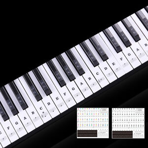 88/61/54 Keys Transparent Piano Keyboard Stickers Musical Sticky Notes Phonetic