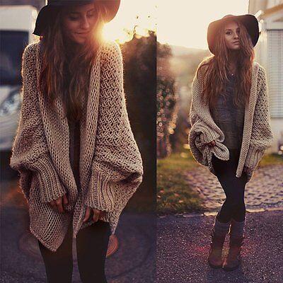 Women Oversized Batwing Sleeve Knitted Sweater Tops Loose Cardigan Outwear Coat