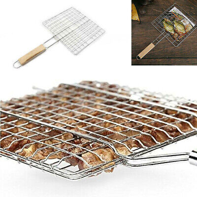 BBQ Net Barbecue Grilling Basket Mesh Steak Fish Meat Vegetable Clip Tool