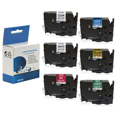 6PK Label Tape Compatible with Brother TZe-231 TZ431 TZe631 P-Touch 6 Color 12mm segunda mano  Embacar hacia Mexico