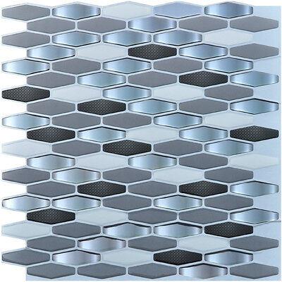 "6 Pieces Peel and Stick Tile Kitchen Backsplash Tile Sticker, 12"" x 12"" Diamond"