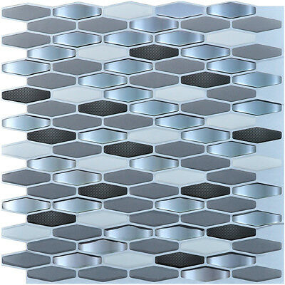 "6 Pieces Peel and Stick Tile Kitchen Backsplash Tile Sticker, 12"" x 12"" Diamond"