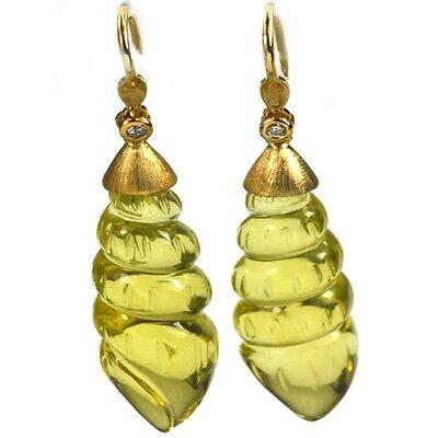 (De Buman 35.76ctw Genuine Lemon Quartz & Diamond Solid 18KY Gold Earrings)