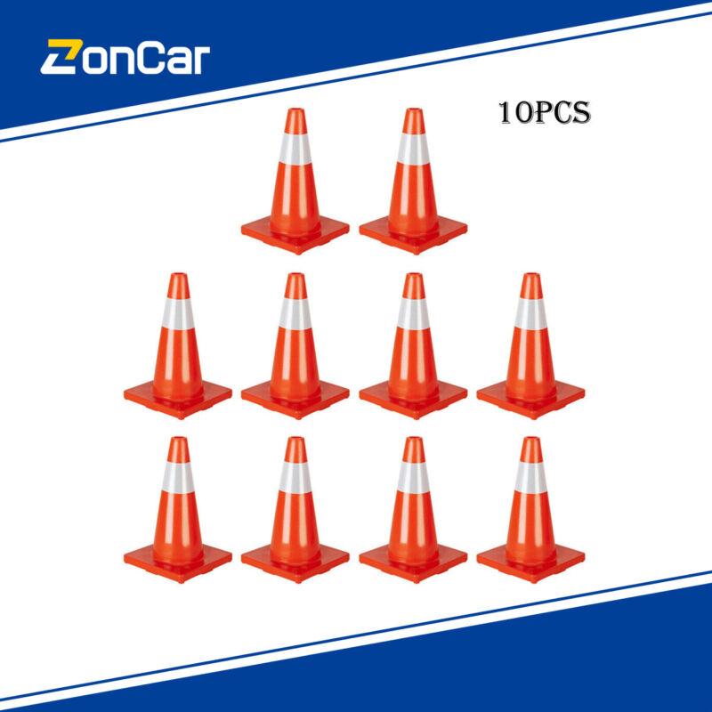"10x Traffic Cones 18"" Orange Fluorescent Reflective Road Safety Parking Cones US"