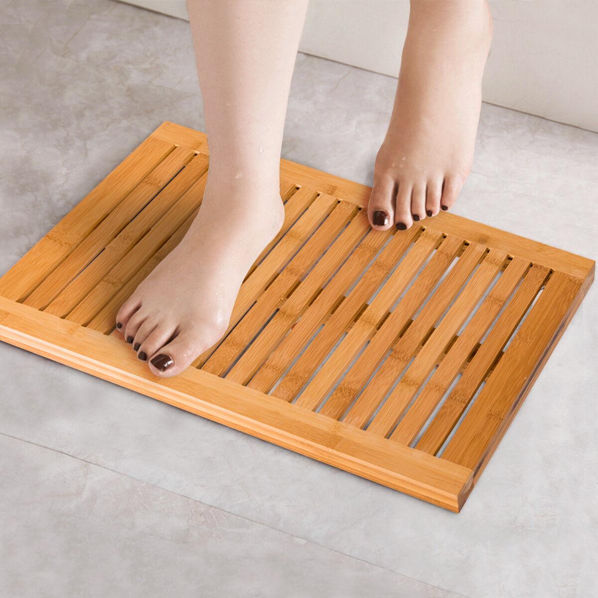 Bamboo Shower Mat Bathroom Bath Floor Mat Spa Sauna Non-Slip