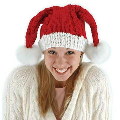 Knit Santa Claus Adult Red Hat Costume Accessory One Size Pom Pom Beanie (Knit Santa Hat)