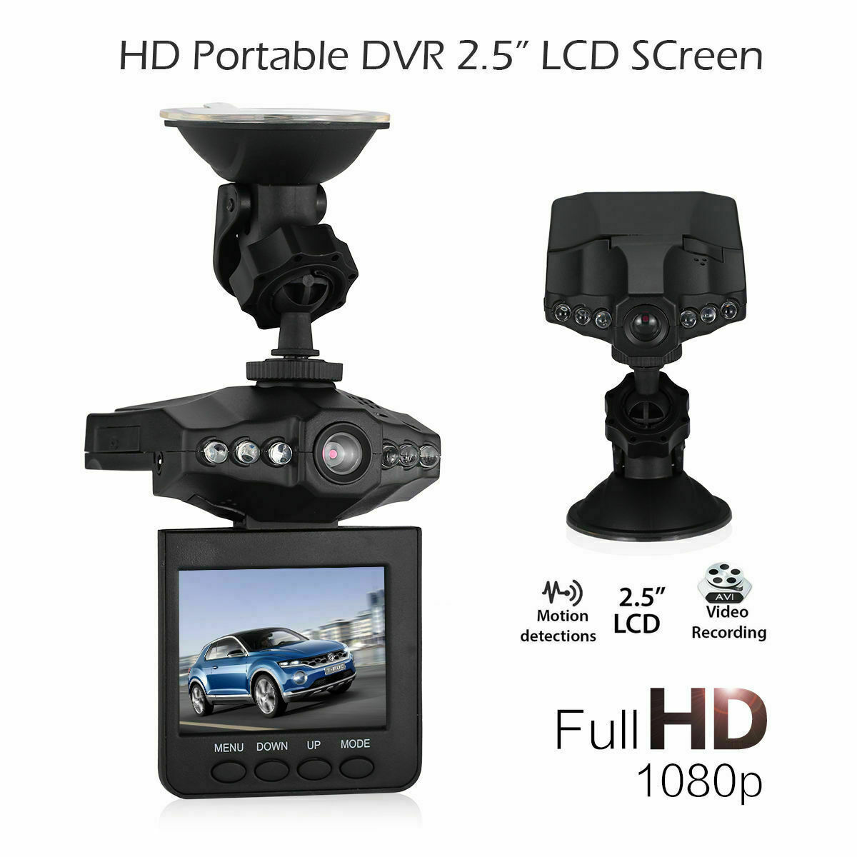 US 1080P Car DVR Camera SD Card Video Driving Recorder Cam N