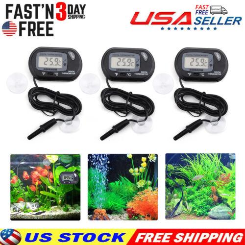 3PC Aquarium Digital Thermometer Fish Tank Salt Water Terrarium w/ Extra Battery