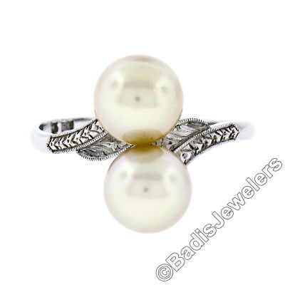 Antique Art Deco Platinum Mikimoto 7.5mm Dual Golden Pearl Engraved Bypass Ring