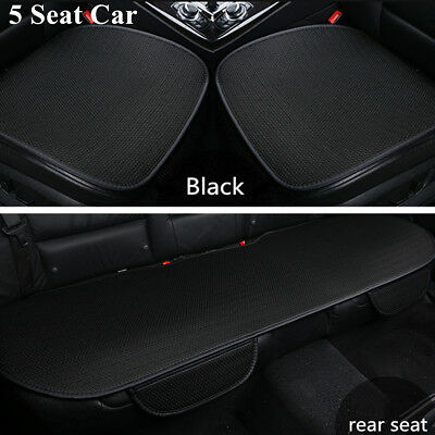 Black All seasons Breathable Ice silk Seat Cover Full Set  front  rear