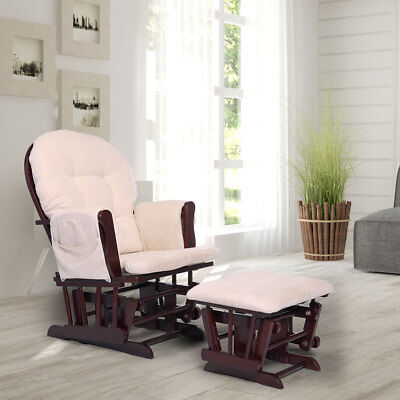 Lounge Chair Glider & Ottoman Set Baby Nursery Relax Rocking Chair w/ Foot Rest