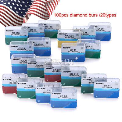 100 Pcs Dental Diamond Burs For High Speed Handpiece Medium Fg1.6mm Us