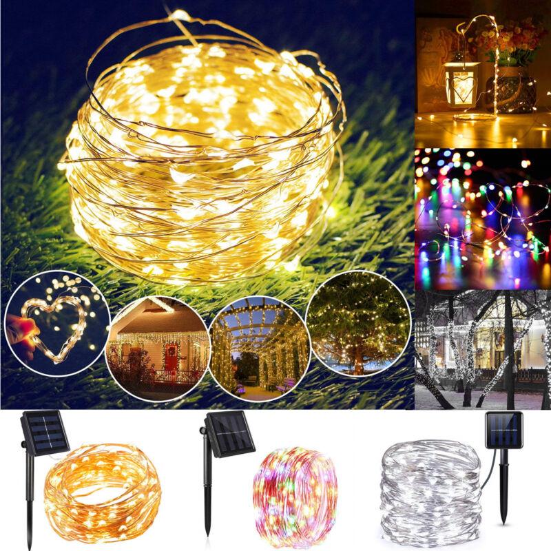 100/200 LED Kupferdraht Solar Lichterkette Garten Weihnachten Außenbeleuchtung