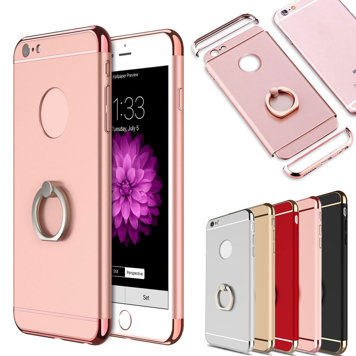 F iPhone 8 7 Plus 6 s Hybrid Rubber Hard Case with Ring Buck