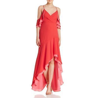 BCBG Max Azria Womens Red Cold Shoulder Hi-Low Evening Dress Gown 0 BHFO 8852
