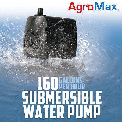 160 GPH SUBMERSIBLE WATER PUMP gallons per hour Hydroponics aquarium