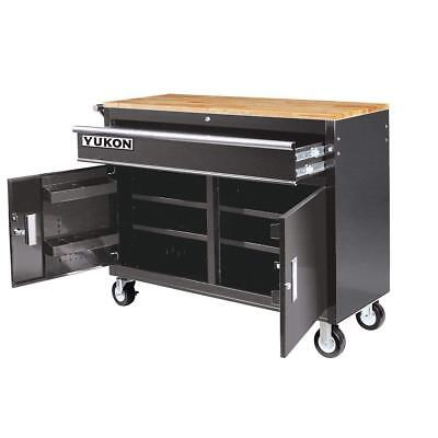 Mobile Steel Workbench (46 in. Mobile Storage Cabinet with Wood Top Welded Steel Construction)