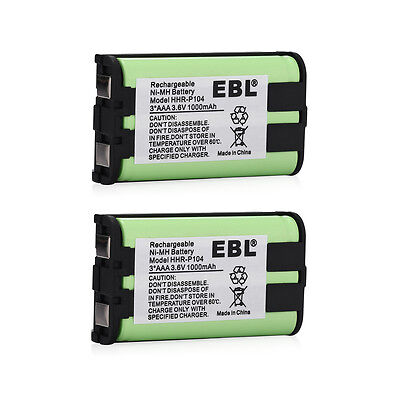 2x 1000mAh Battery For Panasonic HHR-P104 HHRP104 Cordless Phone Type 29 3.6Volt