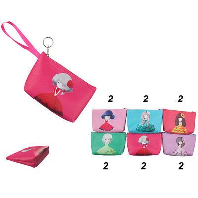 12pcs Girl Printed Coin Purse Key Chain Case Change Bag Purse Wholesale -