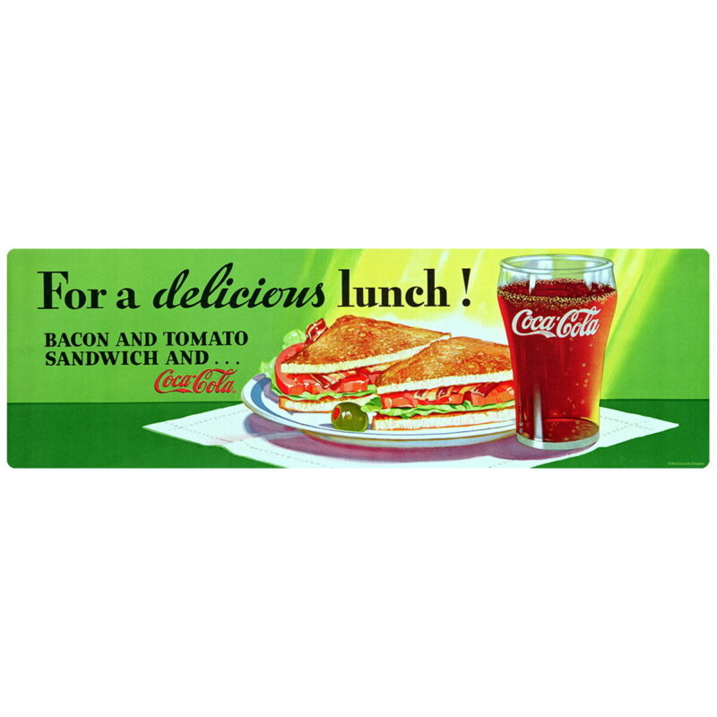 Coca-Cola Delicious Lunch BLT 1950s Diner Wall Decal 24 x 8 Vintage Style