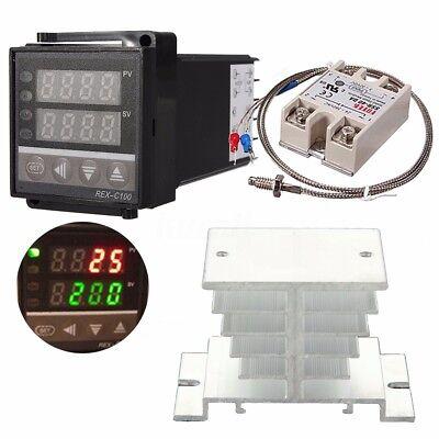 Digital Lcd Pid Temperature Controller 40a Ssr K Thermocouple Sensor Heat Sink