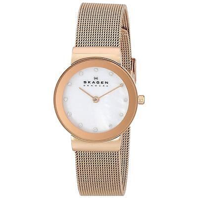 Skagen 358SRRD Lady's White MOP Dial Rose Gold Steel Crystal Watch
