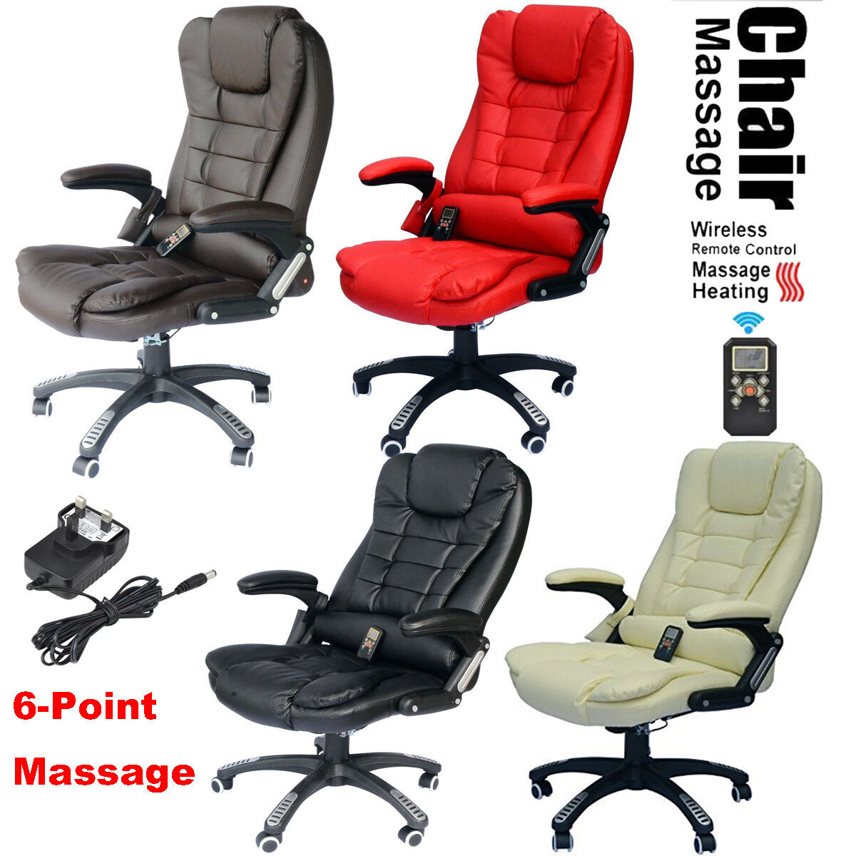 Product Description 6 Point Heated Vibrating Massage Office Chair