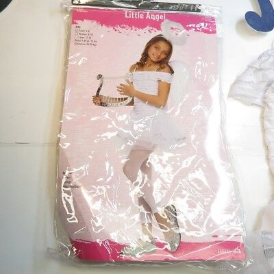 LITTLE ANGEL HALLOWEEN COMPLETE OUTFIT COSTUME Sz Girls S Halo Wings Dress](Little Girls Halloween Outfits)