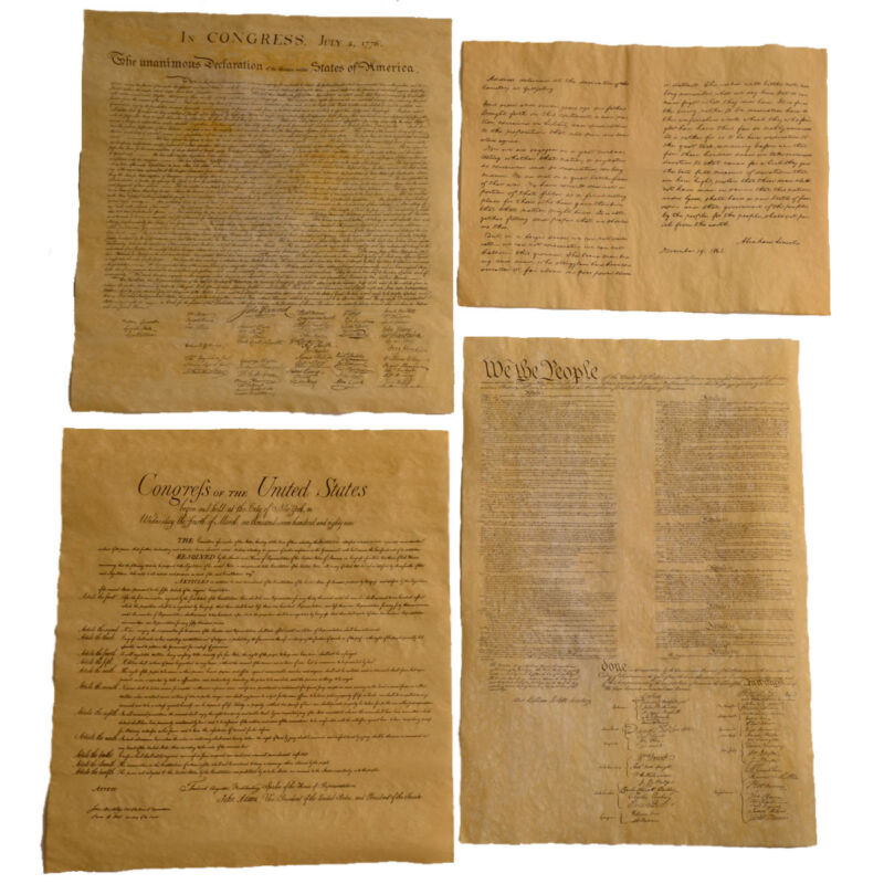 4 Antiqued Parchment Paper US Historical Document History Posters Bill of Rights