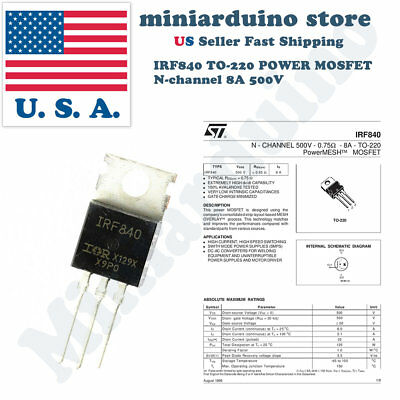 10pcs Irf840 Irf 840 Power Mosfet N-channel 8a 500v To-220 Ir Transistor