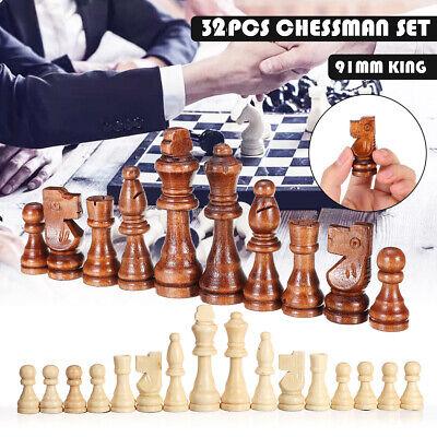 Juego de piezas de ajedrez talladas en madera de 32 piezas Juego...