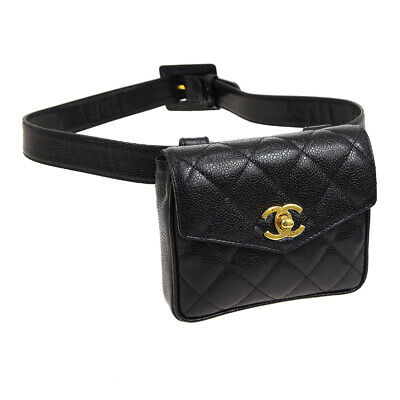 CHANEL Quilted CC Waist Bum Bag Black Caviar Skin Leather Vintage WA00619j