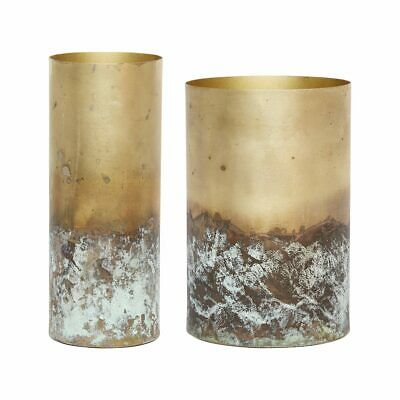 Set of 2 Modern Gold Pots With Antique Style Bottom by Hubsch