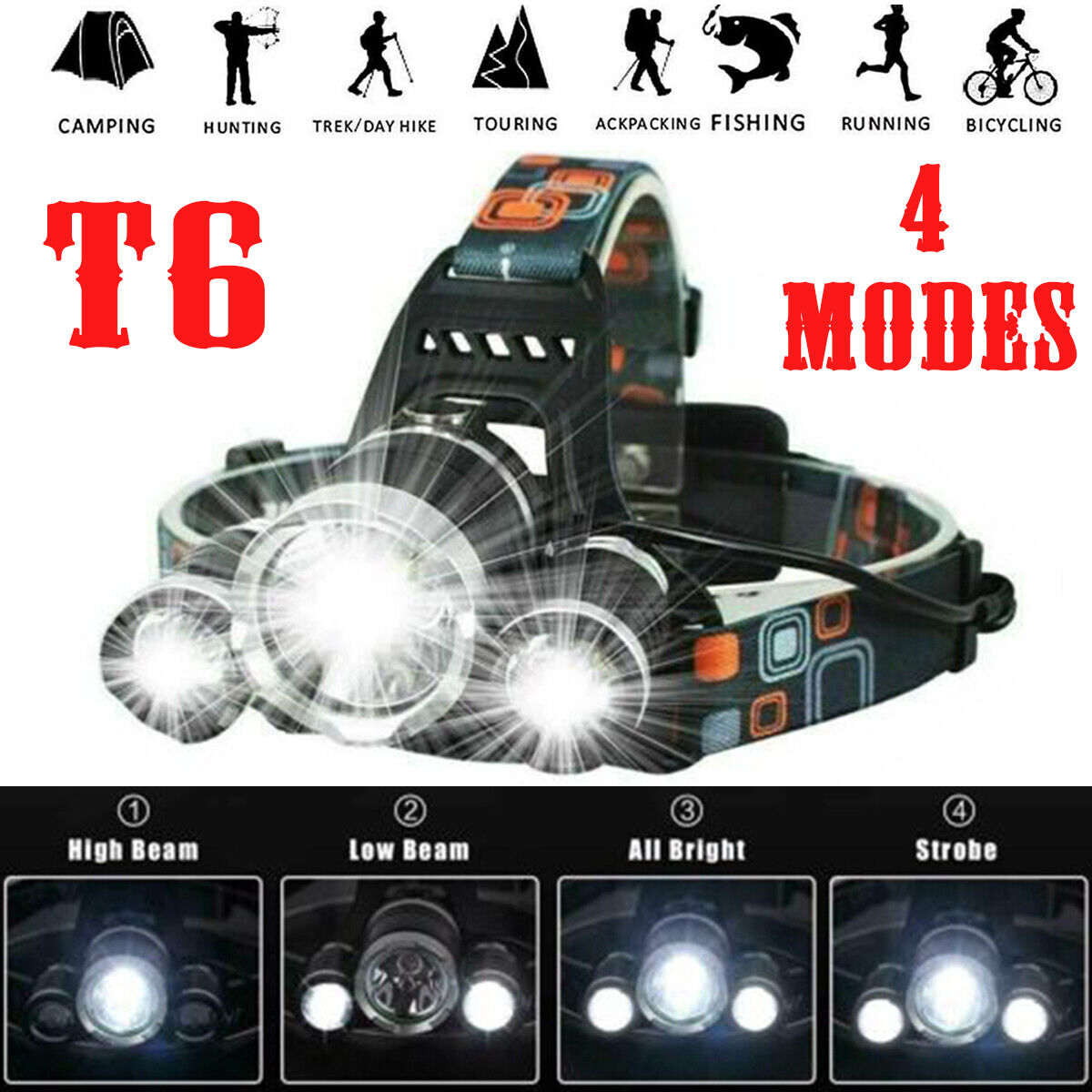 Headlamp Rechargeable 90000LM T6 LED Zoom Headlight Head Torch 18650 Battery