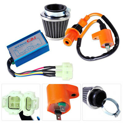 Racing Ignition Coil+6 Pin CDI Box+Air Filter Kit For GY6 50-150cc Scooter ATV