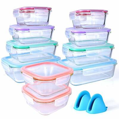 20 Piece Glass Food Storage Airtight & Leakproof Containers