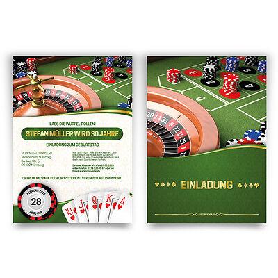 Geburtstag Casino Roulette Poker Spielkarten (Casino Einladungen)