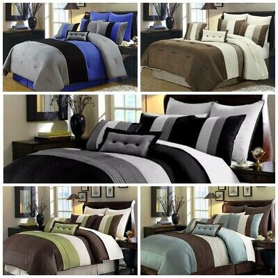 Duvet Collection (Chezmoi Collection 8-Piece Luxury Pintuck Pleated Stripe Duvet Cover Set )