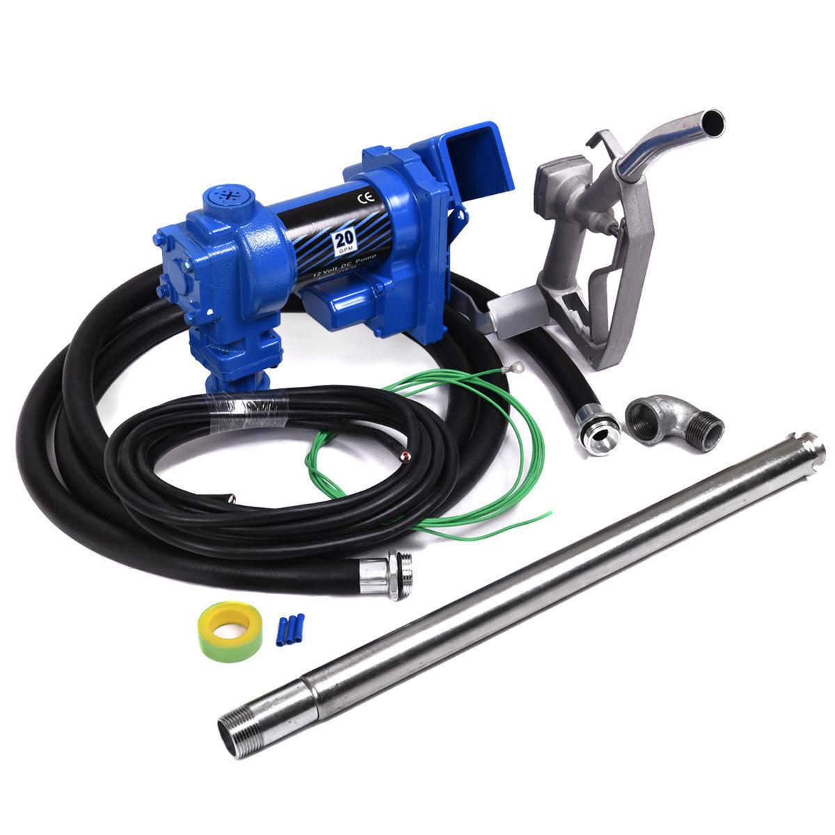 12V DC 20GPM Gasoline Fuel Transfer Pump Gas Diesel Kerosene w/ Nozzle Kit